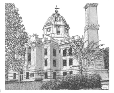 Monroe Country Courthouse Drawing